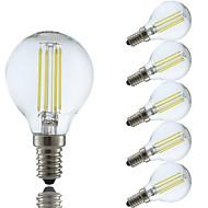4w e14 led filamentpærer p45 4 cob 350-400 lm kul hvit / varm hvit AC 220-240 v 6 stk