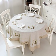 Yuvarlak Dörtgen Nakış Süslü Masa Örtüleri , Linen MalzemeOtel Yemek Masası Düğün Dekorasyon Düğün Ziyafet Yemeği Noel Dekor Favor Tablo