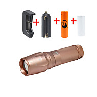 UKing ZQ-X800DRSGO#-US 2000LM Cree XM-L T6 LED 5Modes Zoomable Flashlight Torch Kits with 18650 and Battery Charger