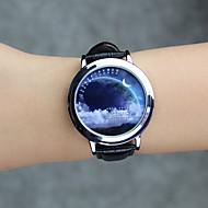Dames Unisex Modieus horloge Polshorloge Unieke creatieve horloge Kwarts LED Echt leer Band Cool Vrijetijdsschoenen Creatief Zwart