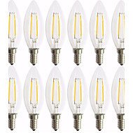 12 Pack 2W E14 LED Filament Bulbs C35 2 COB 200 lm Warm White Decorative AC 220-240 V