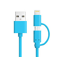 kleur mfi 2 in 1 micro-USB-kabel oplaadkabel voor iPhone 7 6s plus se 5s ipad 4 mini Android-smartphone