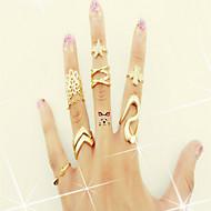 Pierścionki na palec środkowy Stop sztuczna Diament Oświadczenie Biżuteria Golden Biżuteria Casual 1set