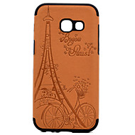 For Samsung Galaxy A3(2017) A5(2017) Embossed Eiffel Tower Pattern PU leather and Black TPU Combo Soft Phone Case for A7(2017)