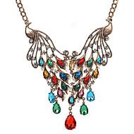 女性用 ペンダントネックレス マルチストーン 模造ダイヤモンド アニマル ジェム 合金 ファッション ビンテージ ゴールド レインボー ジュエリー のために パーティー 日常 1個