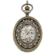 Heren Dames Skeleton horloge Zakhorloge mechanische horloges Automatisch opwindmechanisme Legering Band Zilver