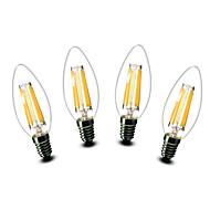 4.5W E14 LEDキャンドルライト C35 6 COB 500 lm 温白色 装飾用 交流220から240 V 4個