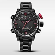 WEIDE 男性 スポーツウォッチ 軍用腕時計 日本産 デジタル 日本産クォーツ LED カレンダー 耐水 2タイムゾーン アラーム ストップウォッチ ステンレス バンド クール ブラック