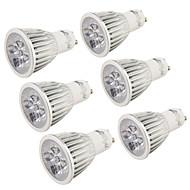 Youoklight® 6pcs gu10 5w 400-450lm 3000k / 6000k 5-poort lamplamp met gloeilamp (ac110-120v / 220-240v) -silver