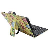 Voor Hoesje cover met standaard met toetsenbord Flip Patroon Volledige behuizing hoesje Cartoon Uil Hard PU-leer voor Apple Samsung Huawei