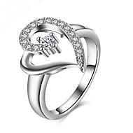 指輪 模造ダイヤモンド 恋 銀メッキ ハート ジュエリー のために 日常 カジュアル 1個