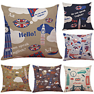 Set of 6 Creative Simple British Elements  Pattern Linen Pillowcase Sofa Home Decor Cushion Cover  Throw Pillow Case (18*18inch)