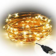 3W Φώτα σε Κορδόνι 300 lm <5V V 10 m 100 leds Θερμό Λευκό Λευκό Κόκκινο Κίτρινο Μπλε Πράσινο Βυσσινί Ροζ Πολύχρωμα