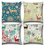 Set Of 4 Europe America Style Christmas Deer Flowers Pillow Case Creative Animals Pillow Cover Square Sofa Cushion Cover