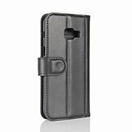 Hoesje voor Samsung Galaxy a3 (2017) a5 (2017) portemonnee portemonnee met stand flip full body hoesje vaste kleur hard echt leer voor