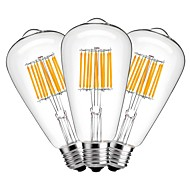 10W LED필라멘트 전구 ST64 10 COB 1000 lm 따뜻한 화이트 장식 AC 220-240 V 3개