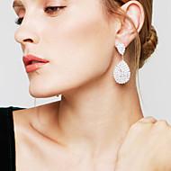 Kolczyki wiszące Rhinestone Ślubny Elegancki luksusowa biżuteria Kryształ górski Posrebrzany Kropla Łezki White Biżuteria NaŚlub Impreza