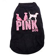 고양이 강아지 티셔츠 강아지 의류 패션 문자와 숫자 블랙