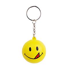 glimlach gezicht bal stijl sleutelhanger met zachte kunststof-geel