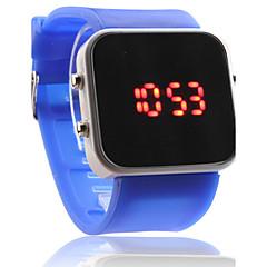 Unisex Sport Uhr mit Roter LED Anzeige (Blau)