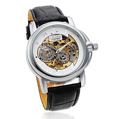 Men's Auto-Mechanical Hollow White Dial Black PU Band Wrist Watch Cool Watch Unique Watch Fashion Watch