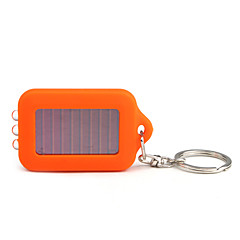Solar Powered White Light 3-LED Keychain Flashlight (Orange)