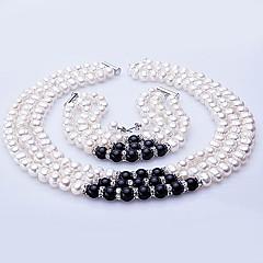 zoetwaterparel sieraden set - ketting, armband en oorbellen