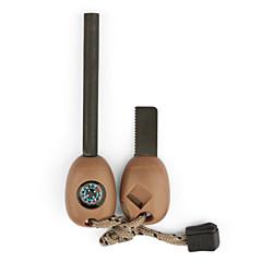 utendørs overlevelse multi-funksjonelle verktøy flint + fløyten + kompass + sager + linjal