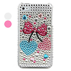 Bowknot Pattern PVC Case with Crystals Cover for iPhone 4, 4S