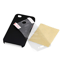 Ultra Thin Rubber Matte Hard Case For iPhone 4 and 4S with Screen Protector (Black)
