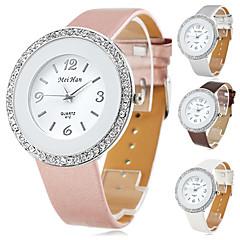 reloj de cuarzo de la venda de la PU de las mujeres estuche de cristal de plata (colores surtidos)