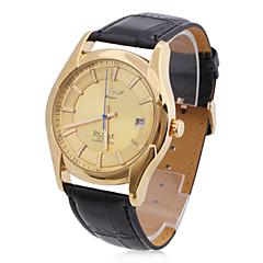 för män pu analoga mekaniska avslappnade klocka (guld)