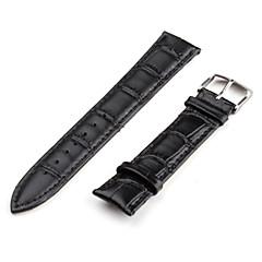unisex correa de cuero genuino reloj de 20mm (negro)