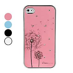 Dandelion Pattern Rhinestones Aluminium Case for iPhone 4 and 4S (Assorted Colors)