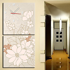 "12""-24"" Modern Style Floral Wall Clock in Canvas 2pcs"