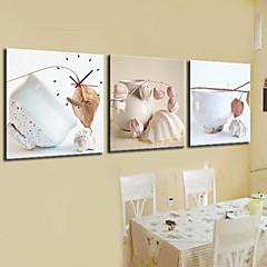 キャンバスの3pcsでモダンなスタイル食器壁時計