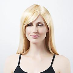 Capless extra lange synthetische licht blond steil haar pruik