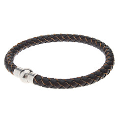 Braided Leather Mens Bracelet with Locking Stainless Steel Clasp