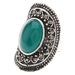 Vintage Tibetan Silver Agate Adjustable Ring