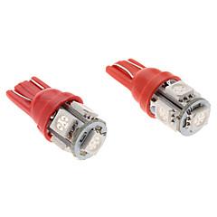 T10 1W 5x5050 SMD Red Light LED Bulb for Car (2-Pack, 12V)
