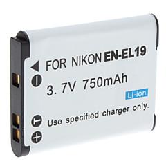 Vídeo Digital de substituição de bateria Nikon EN-EL19 para Nikon Coolpix S3100 e Mais (3.7V, 750 mAh)