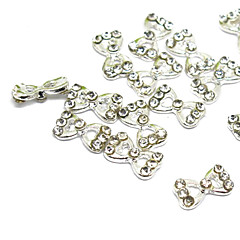 5PCS 3D Half Cover Metal Nail Decorations Diamond Bowknot