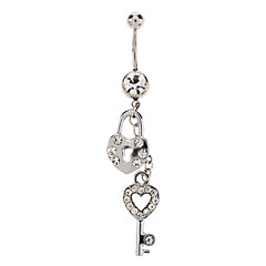 Women's  Lock And Key Combination Pendant Stainless Steel Navel Ring
