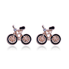 European Style Fashion Individuality Oil Drip Bicycle Alloy Stud Earrings
