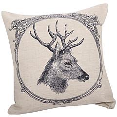 Traditional Deer Cotton/Linen Decorative Pillow Cover