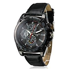 Men's Racing Design Black Dial PU Leather Band Quartz Wrist Watch