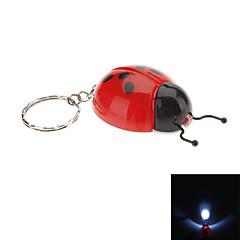Coccinella septempunctata muotoinen LED taskulamppu-avaimenperä (Random Colors)