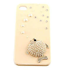 Cute Pearl Golden Fish Pattern Hard Case for iPhone 4/4S(Beige)