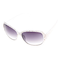 Frauen Light Blue Lens Weiß Frame Cat Eye Sonnenbrillen