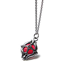 316L Titanium Steel Metal Necklace - A Gem Inlay in Cross Shield Pendant for Man
